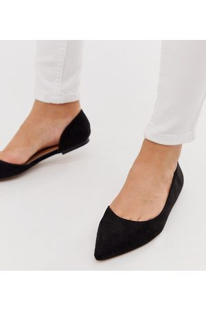 ASOS Wide Fit Virtue d'orsay pointed ballet flats in black