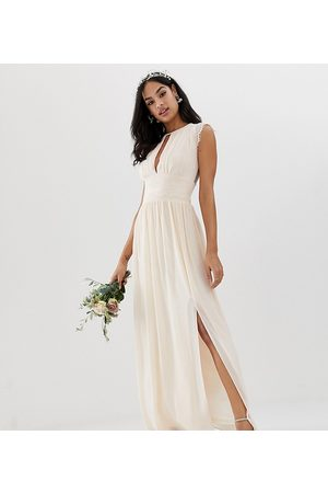 TFNC Lace detail maxi bridesmaid dress in pearl pink