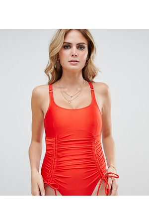 Wolf & Whistle Fuller Bust Exclusive strung and gathered swimsuit in red