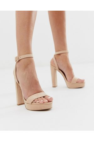ASOS Nutshell platform barely there heeled sandals in beige