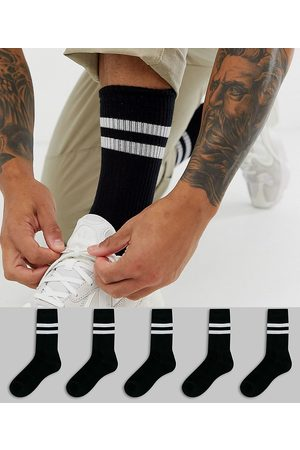 ASOS 5 pack sport socks in black with white stripe save