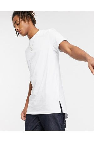 ASOS Longline t-shirt with crew neck and side splits in white