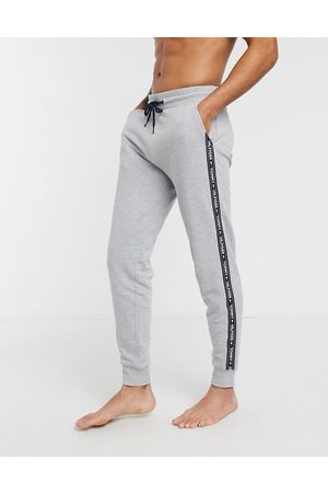 Tommy Hilfiger Authentic cuffed lounge joggers side logo taping in grey marl