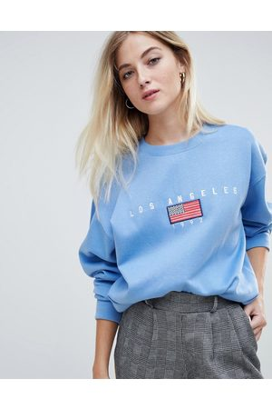 Daisy Street Relaxed sweatshirt with vintage los angeles embroidery-Blue