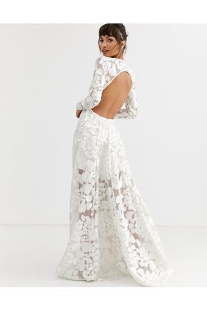 ASOS Wedding dress with open back and floral embroidery-White