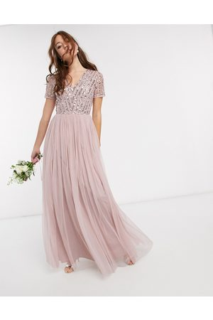 Maya Bridesmaid v neck maxi dress with tonal delicate sequin in pink