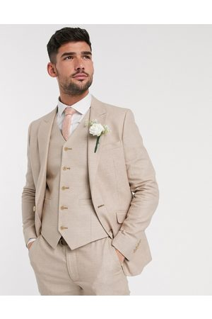 ASOS Wedding skinny suit jacket in micro texture in camel-Beige