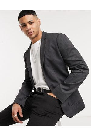 ASOS Super skinny plain jersey blazer in charcoal herringbone-Grey