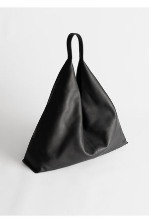 & OTHER STORIES Smooth Leather Tote Bag - Black