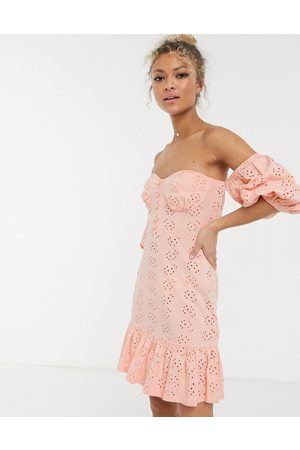 ASOS Broderie off the shoulder cupped mini sundress with tiered hem in pink