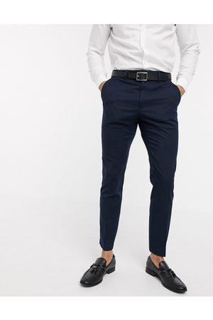 French Connection Wedding slim fit flannel suit trousers-Navy