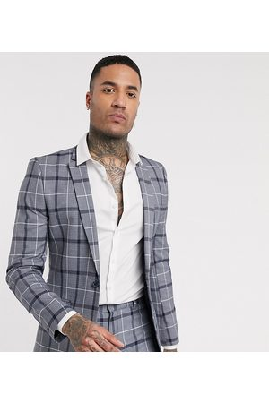 ASOS Tall super skinny suit jacket in navy and white bold check
