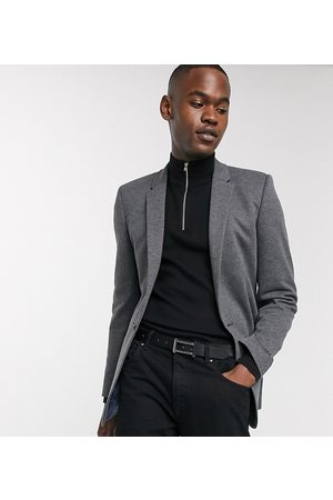ASOS Tall super skinny jersey blazer in charcoal-Grey