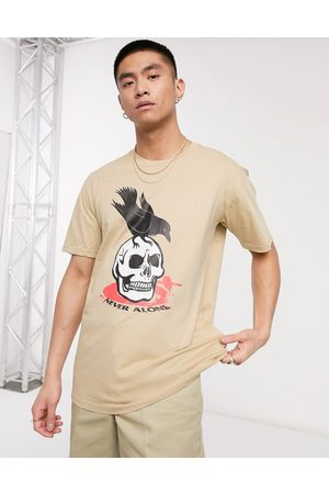 Blood Brother Printed t-shirt in stone-Beige
