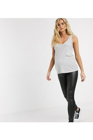 Mama Licious Mamalicious Maternity wet look leggings in black