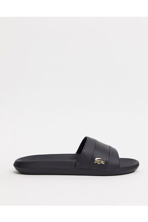 Lacoste Croco sliders black with gold croc