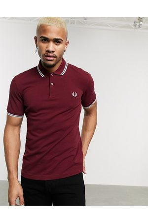 Fred Perry Twin tipped logo polo in burgundy