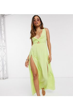 ASOS ASOS DESIGN petite tie back beach maxi dress with twist front detail in lime-Green