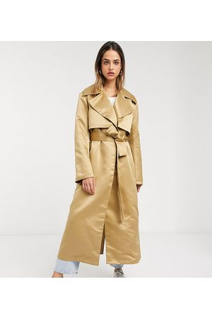 ASOS ASOS DESIGN Tall strong shoulder trench coat in stone-Beige