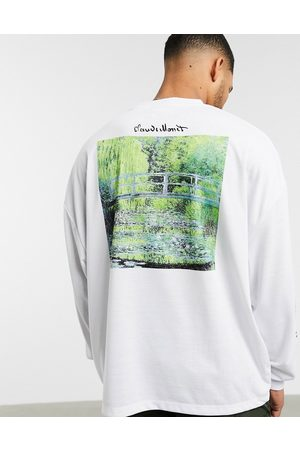ASOS Claude Monet oversized long sleeve t-shirt with multiple print placements-White