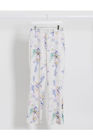 ASOS Wide leg suit trousers co ord in floral print-Multi