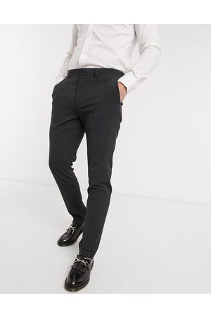 ASOS Wedding skinny suit trousers in charcoal four way stretch-Grey