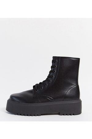ASOS Wide Fit Attitude 2 lace up chunky boots in black