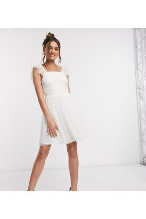 ANAYA Anaya With Love Petite frill sleeve mini ruched prom dress in white