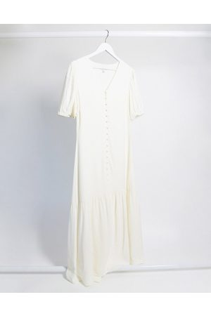 & OTHER STORIES Puff sleeve button-through maxi dress in eggshell white-Cream