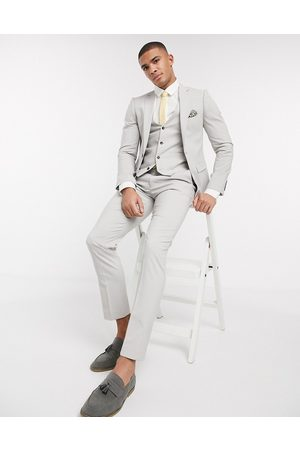 Harry Brown Skinny fit plain suit jacket-Grey