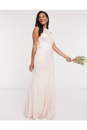ASOS Bridesmaid halter pleated maxi dress with panelled skirt-Pink