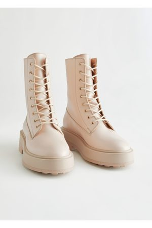 & OTHER STORIES Chunky Platform Leather Boots - Beige