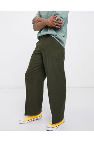 ASOS Extreme wide leg smart trouser in khaki wool mix-Green