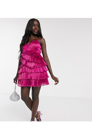 Dolly & Delicious Kadın Gece Elbiseleri - Exclusive pleated wrap mini plunge front prom dress in fuschia-Pink