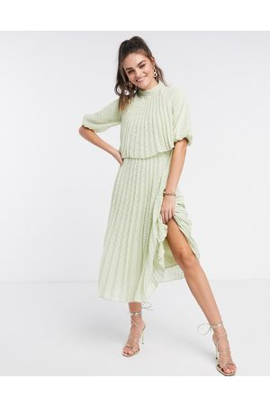 ASOS High neck pleated double layer midi dress in chevron dobby in sage green