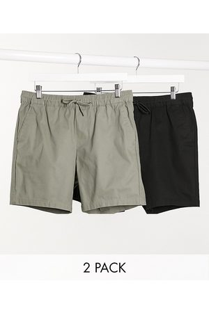 ASOS 2 pack slim chino shorts in khaki & black save-Multi