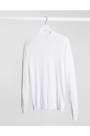 ASOS Muscle fit turtle neck jumper in white