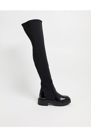 ASOS Keeley chunky flat over the knee boots in black