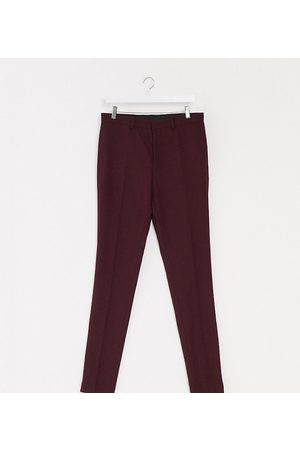 ASOS Erkek Resmi Pantolon - Tall wedding super skinny wool mix suit trousers in burgundy-Red