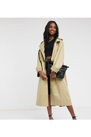 ASOS ASOS DESIGN Tall oversized utility trench coat in stone-Beige