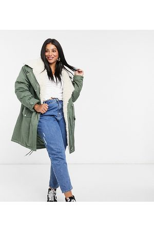ASOS ASOS DESIGN Curve waterfall parka with borg lining in khaki-Green