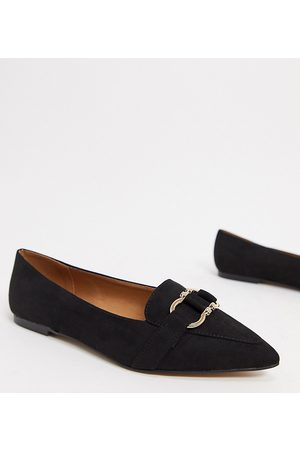 ASOS Wide Fit Legit loafer ballet flats in black