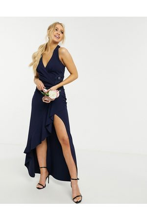 Lipsy London Bridesmaid halterneck maxi dress with wrap front in navy