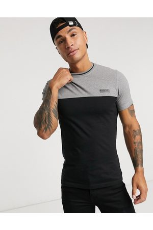 Barbour Colour block t-shirt with tipping detail in black