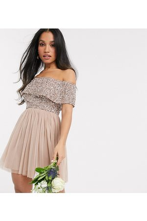 Maya Bridesmaid off shoulder mini tulle dress with tonal delicate sequin in taupe blush-Pink