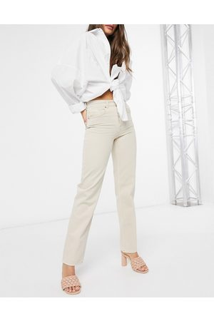 ASOS Mid rise '90's' straight leg jeans in buttermilk-Yellow