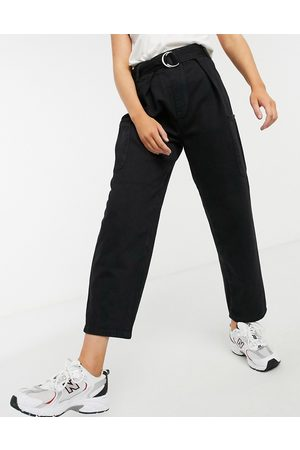 Selected Femme jeans with high waist and belt in washed black