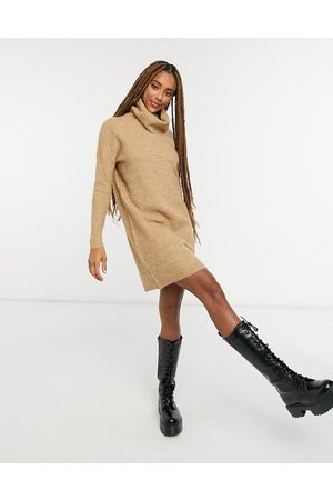 Only Jumper dress with roll neck in brown