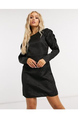 Pieces Mini dress with exaggerated sleeves in black jacquard