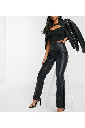 4th & Reckless Pu flare trouser with side split detail in black